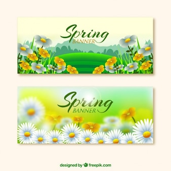Realistic flowers spring banners