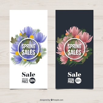 Realistic flowers spring sales banners