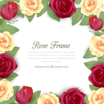Realistic frame of pretty flowers