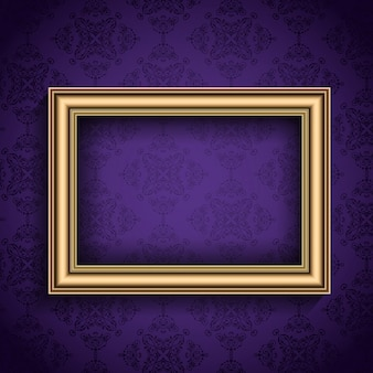 Realistic frame on a purple background