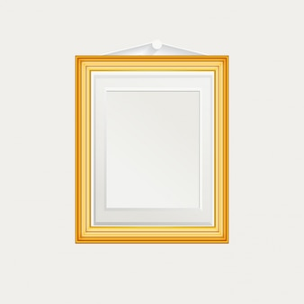 Realistic frame on a white wall