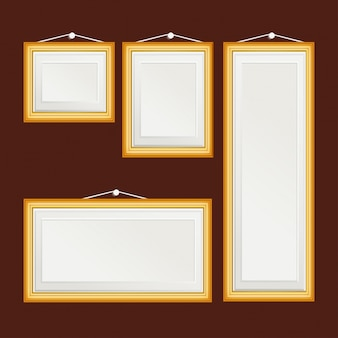 Realistic frames on a brown background