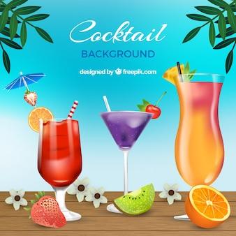 Realistic fruit cocktails background