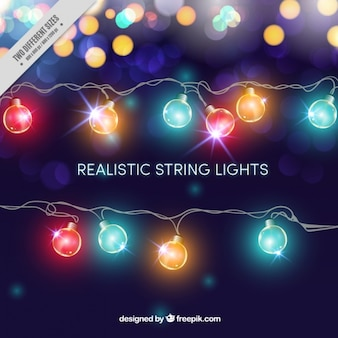 Realistic garlands of lights