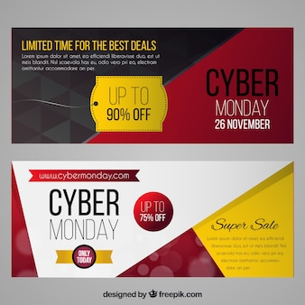Realistic geometric cyber monday banners