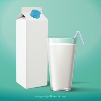 Realistic glass of milk and packaging