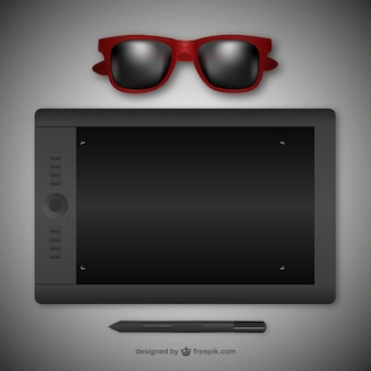 Realistic graphics tablet and sunglasses