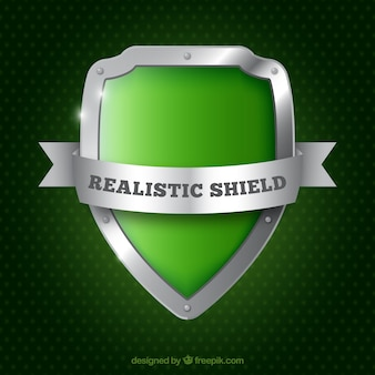 Realistic green shield background