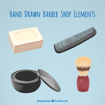 Realistic hand drawn barber elements
