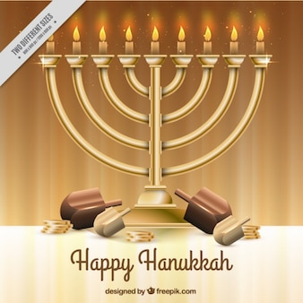 Realistic hanukkah background with candelabra