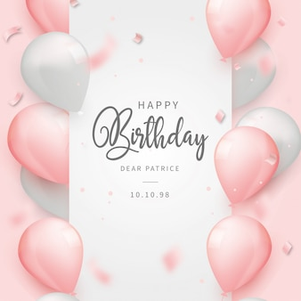 Realistic happy birthday background with pink balloons