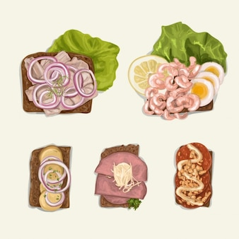 Realistic illustration of different foods
