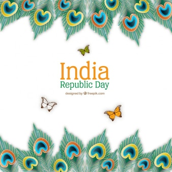 Realistic indian republic day background with butterflies