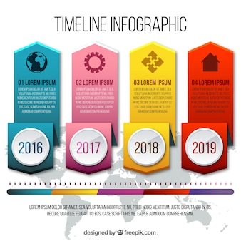 Realistic infographic template of timeline with four options