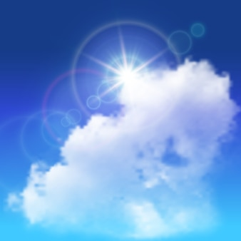 Realistic lens flares beams of sunshine above white big cloud on blue sky