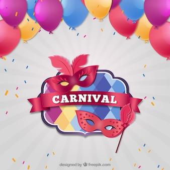 Realistic masks carnival badges