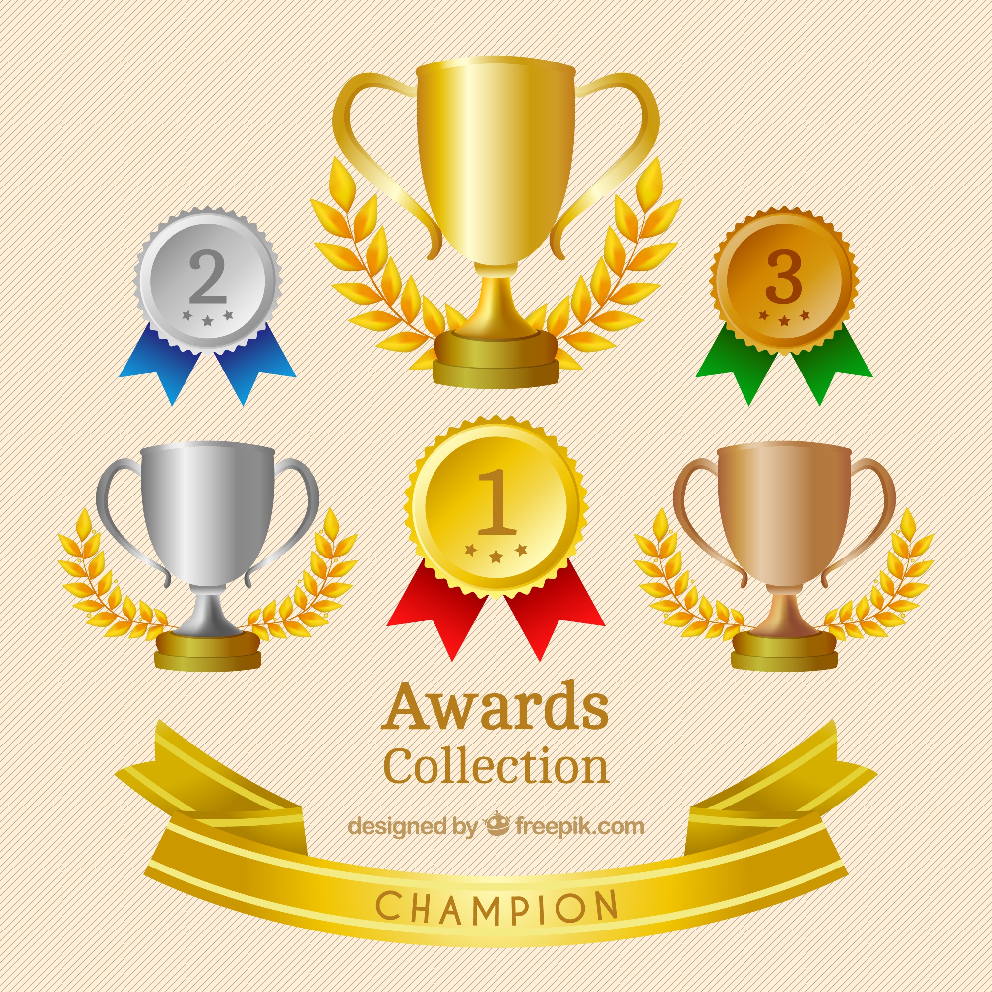 Realistic medals and trophies set