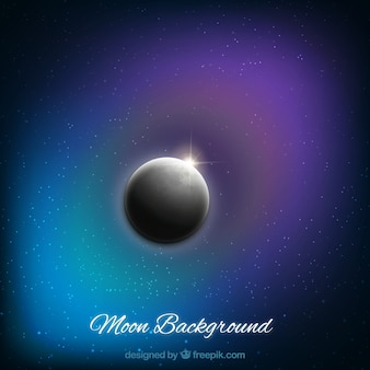 Realistic moon background with shiny stars
