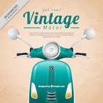 Realistic motor-scooter vintage background