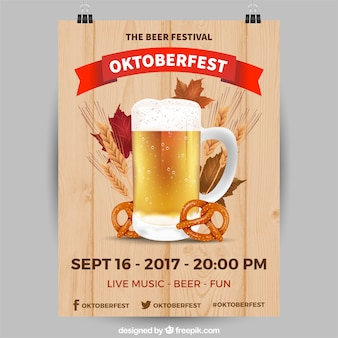Realistic oktoberfest party poster