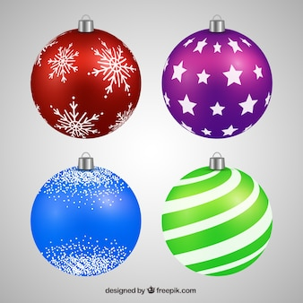 Realistic pack of christmas balls