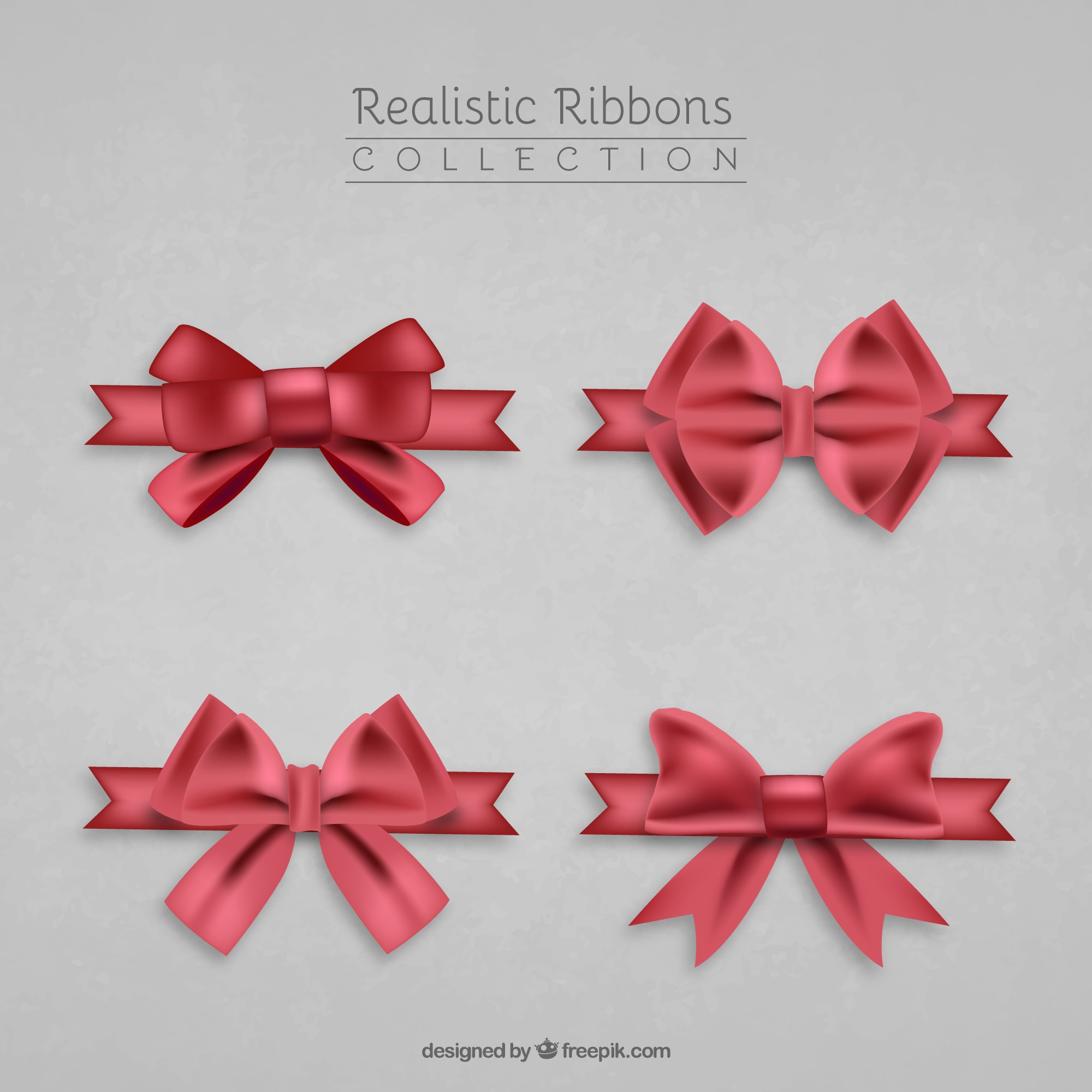 Realistic pack of four red ribbons