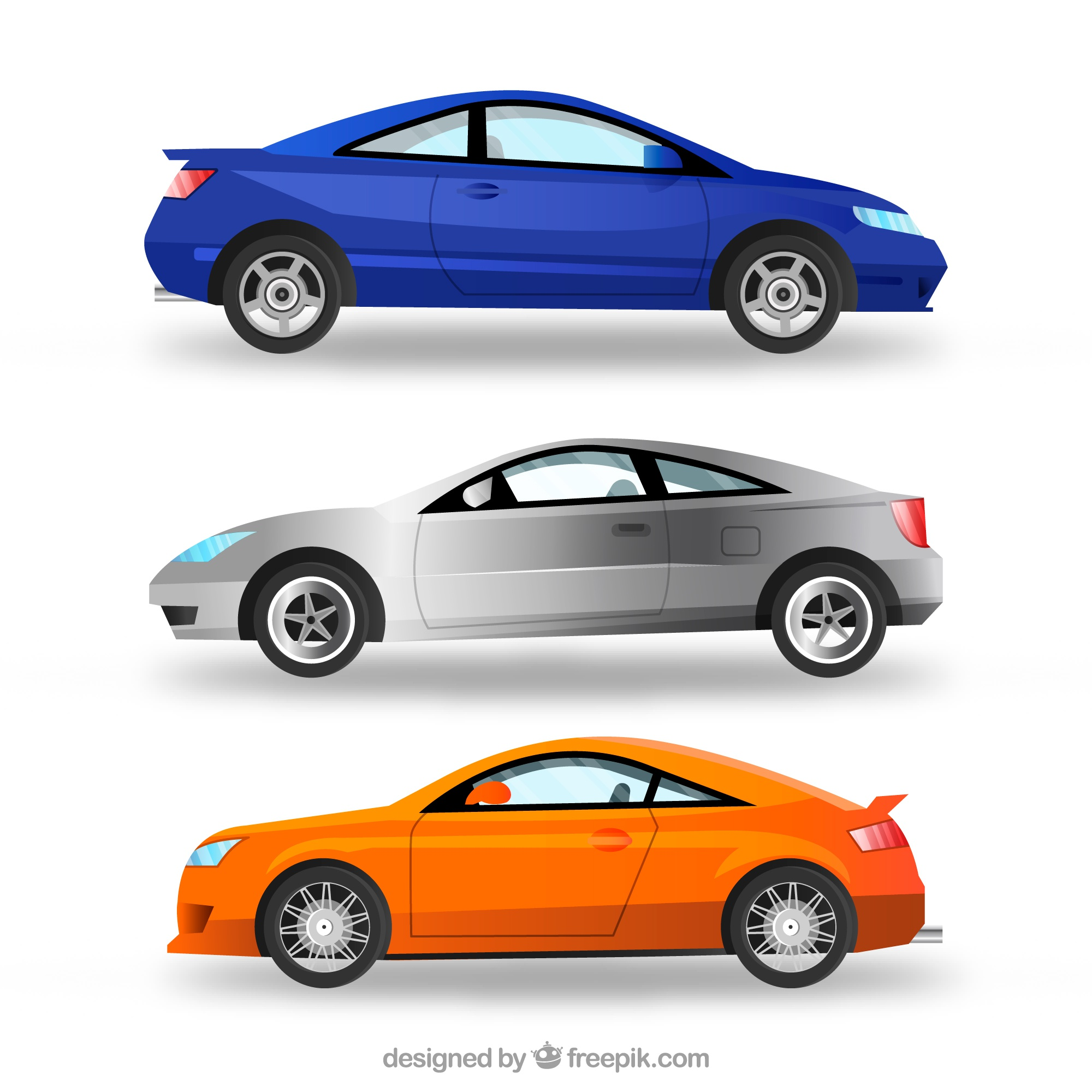 Realistic pack of modern cars