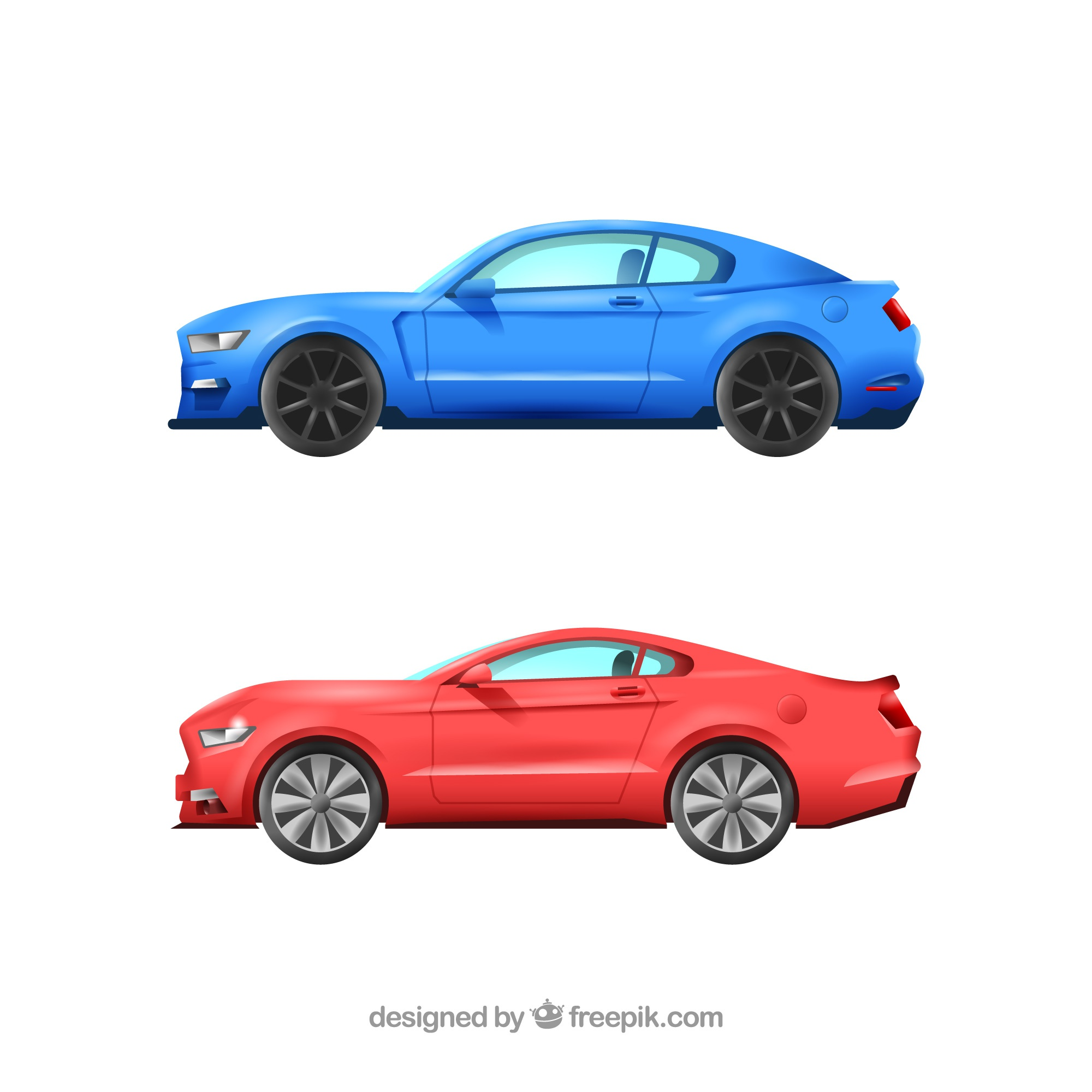 Realistic pack of sports cars