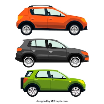 Realistic pack of three automobiles
