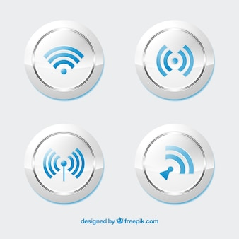 Realistic pack of wifi buttons