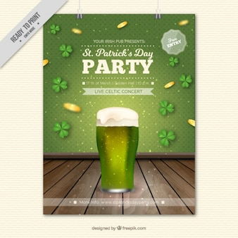 Realistic poster template with beer and clovers for st patrick's day