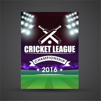 Realistic poster with cricket stadium