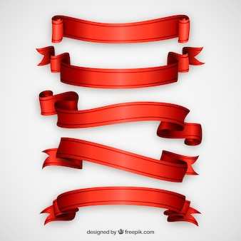 Realistic red ribbons pack