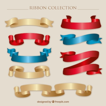 Realistic ribbons with different colors
