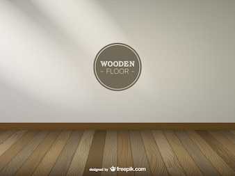 Realistic room with wooden floor