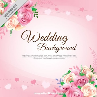 Realistic roses with leaves wedding background