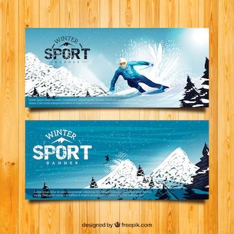 現実的なスキー場のバナー