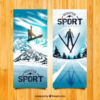 リアルなスノーボードやスキーバナー