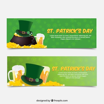 Realistic st patrick's day banners with hat and coins
