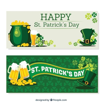 Realistic st patrick's day banners