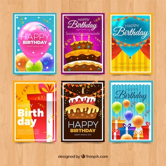 Realistic style colorful birthday cards collection