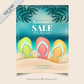 Realistic summer sale flyer with flip flop