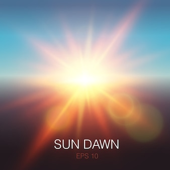 Realistic sun dawn beams of orange color and lens flares on blue sky