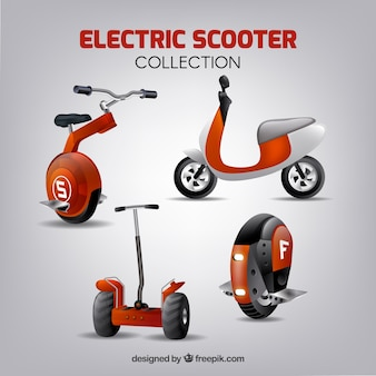 Realistic variety of urban scooters