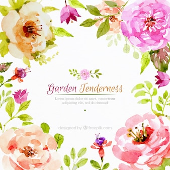 Realistic watercolor flowers background
