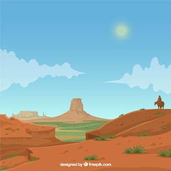 Realistic western background with cowboy