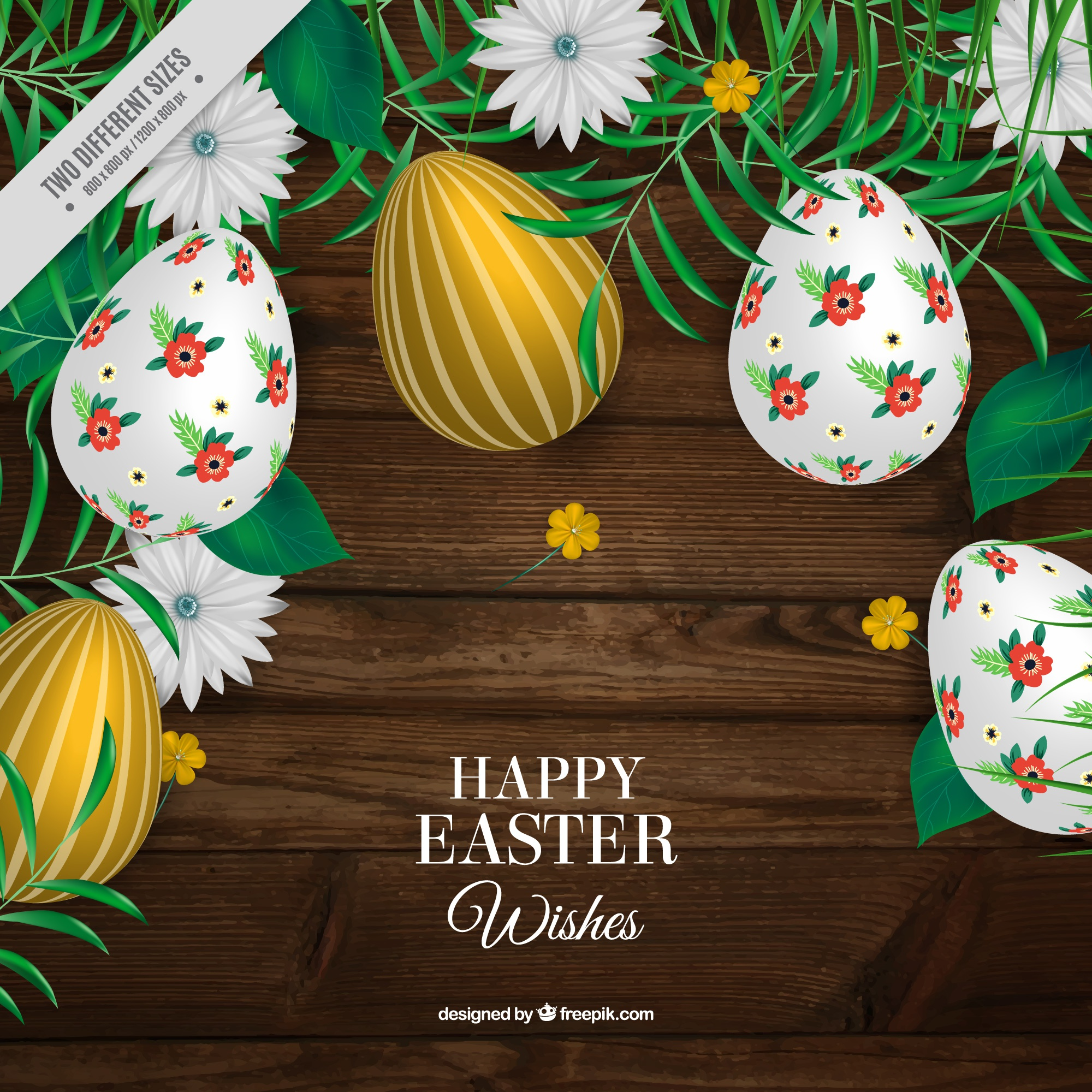 Realistic wooden background with easter eggs