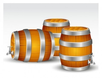 Realistic wooden barrels vector illustration