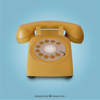 Realistic yellow telephone