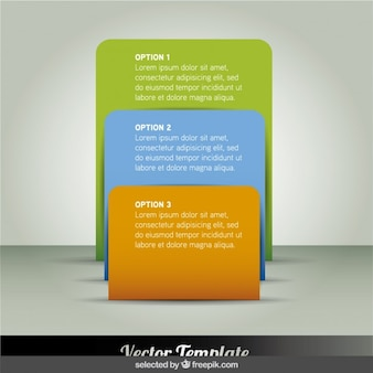 Rectangular colorful infographic steps